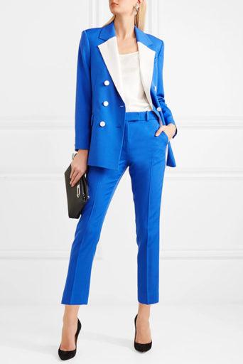 Женский синий костюм – с чем носить и как создавать стильные образы