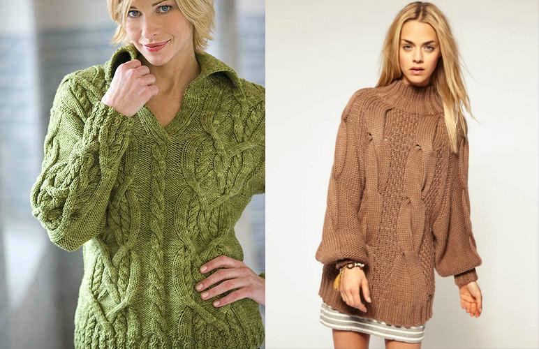 Вязаный пуловер с косами с доставкой