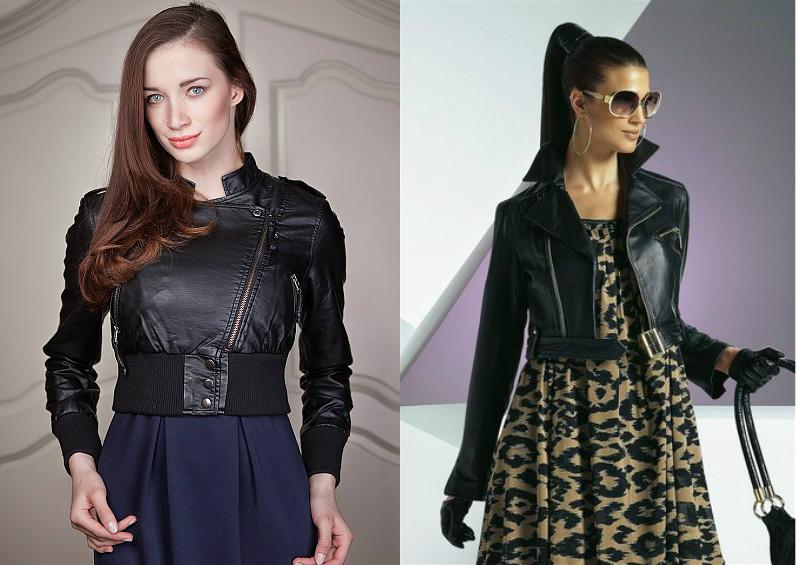 Стиль кожаная куртка платье