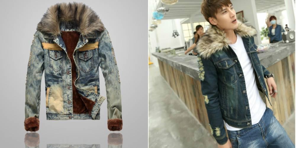 Теплая Джинсовая Куртка С Мехом Мужская Купить