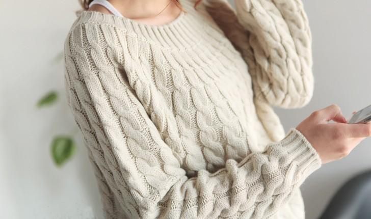 Пуловер Белый С Косами