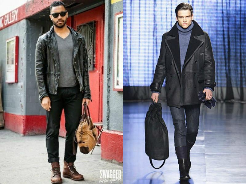С чем носить кожаную куртку мужчине обувь