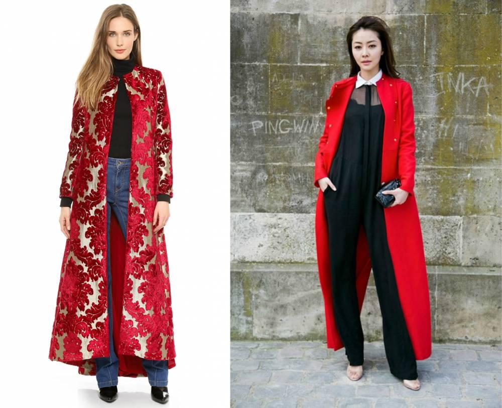 Вышивка на красном пальто