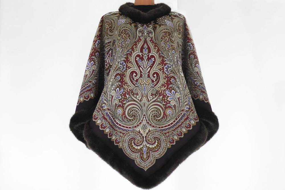 Как сшить пальто пончо из павлопосадских платков