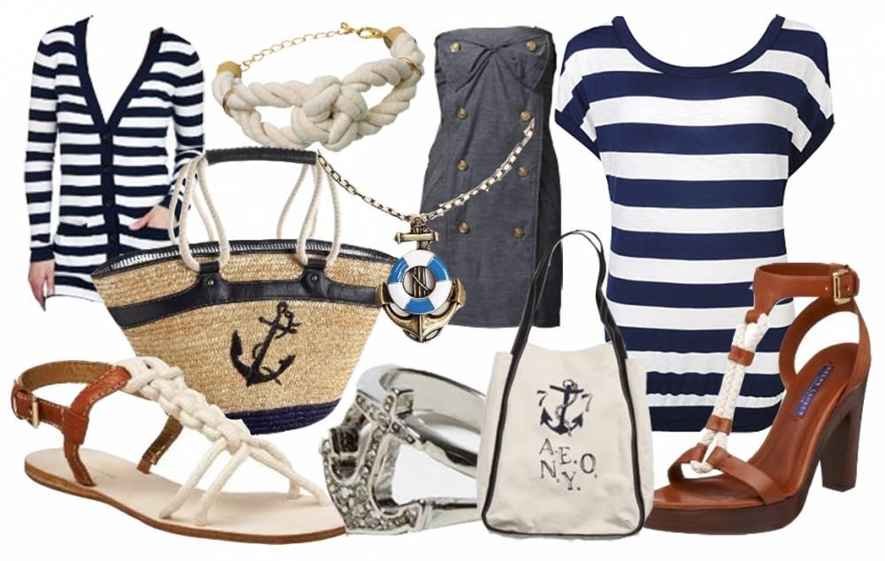 Неплохим вариантом будет присутствие аксессуаров в морском стиле - обычно выбираются украшения из янтаря, а также