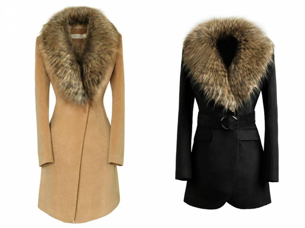 Купить зимнее драповое пальто с меховым воротником