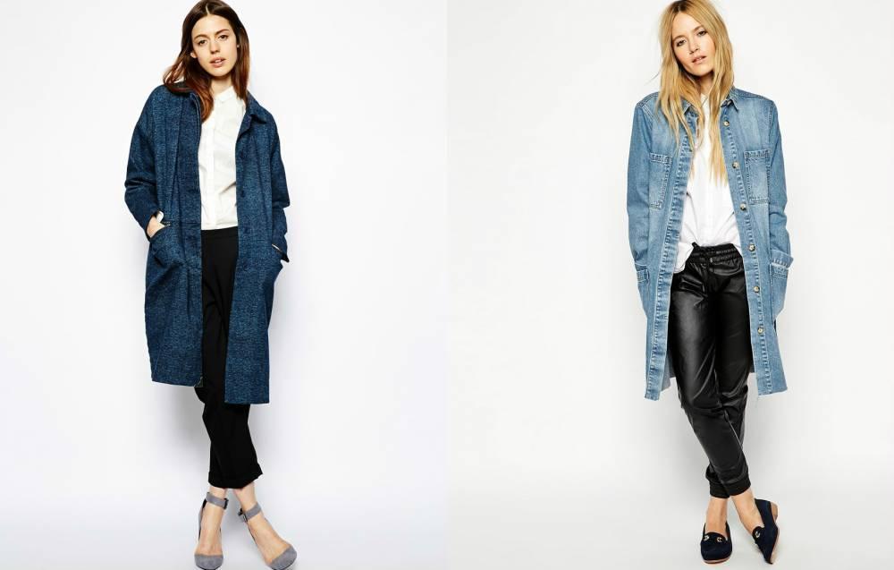 пальто из джинсовой ткани фото