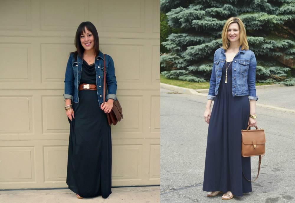 Длинные платья с джинсовкой