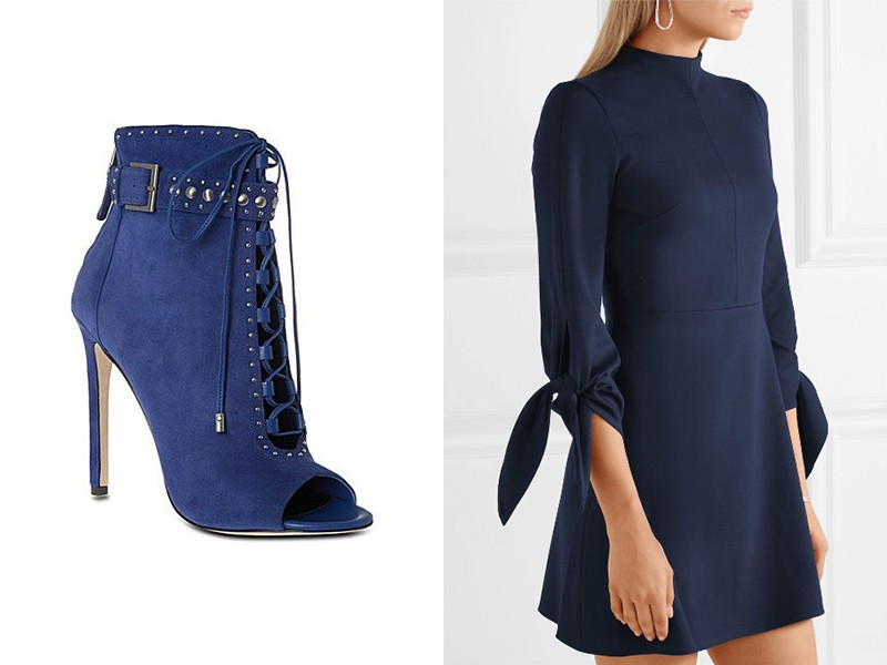 Синие ботильоны с черным платьем