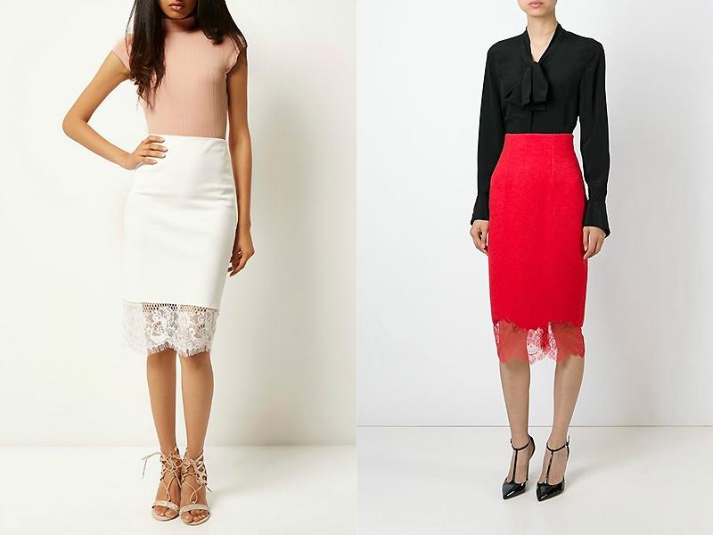 Черная юбка с красными кружевами