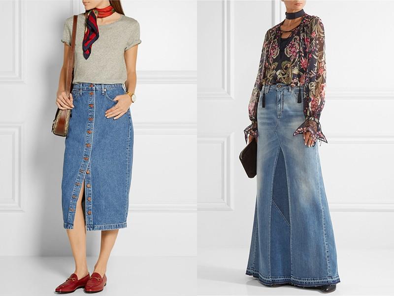 Длинные джинсовые платья и юбки