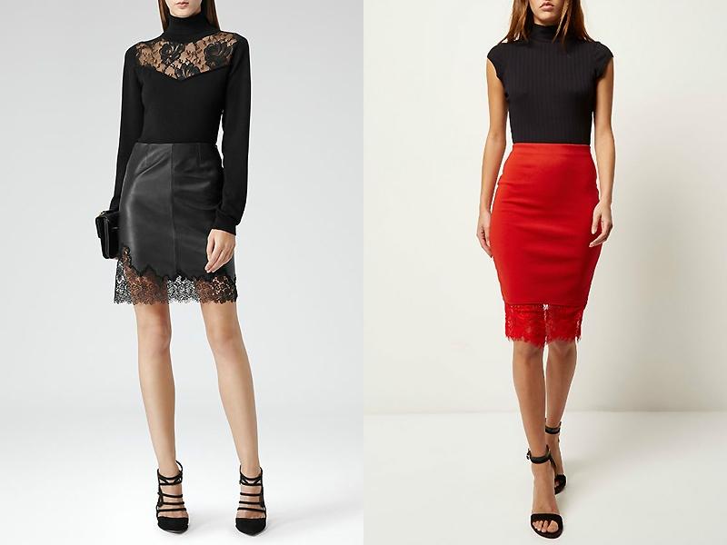 Кожаные юбки с гипюром