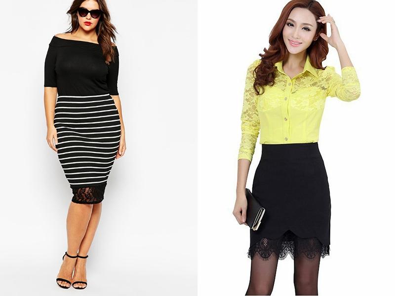 Черная кружевная юбка и блузка