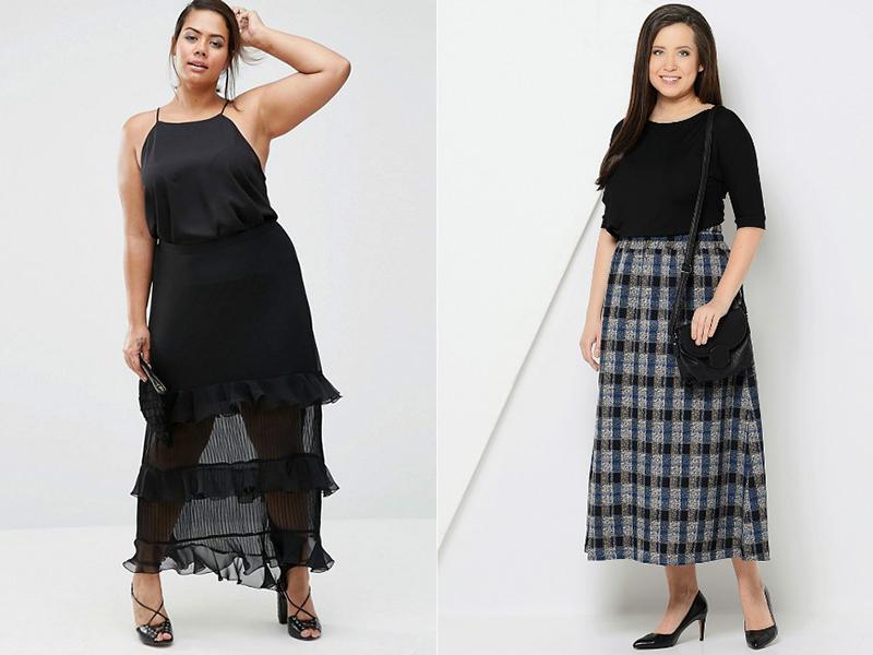 Длинная шифоновая юбка для полных