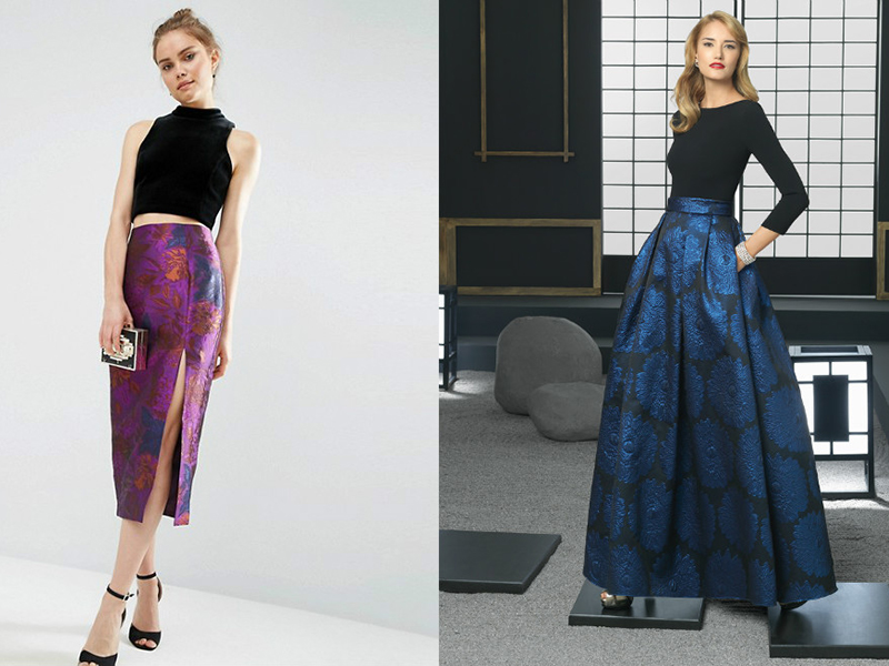 Модели юбок из синей ткани