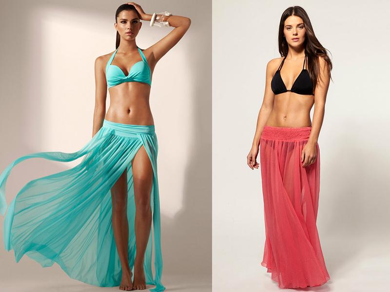 Пляжный костюм: топ юбка