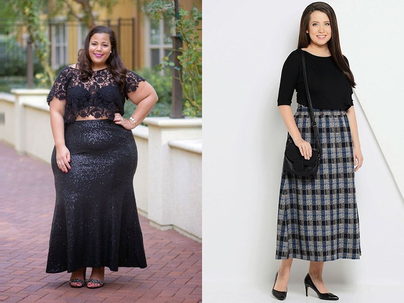 Длинные юбки модели для полных женщин