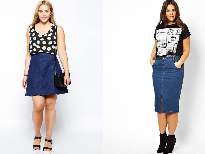 Модели джинсовых юбок юбки для полных