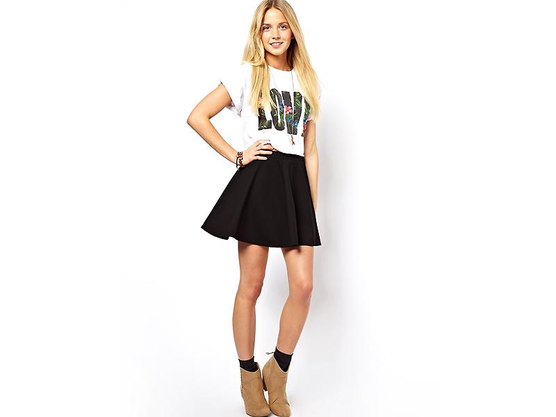 Девушки мини черных юбках фото