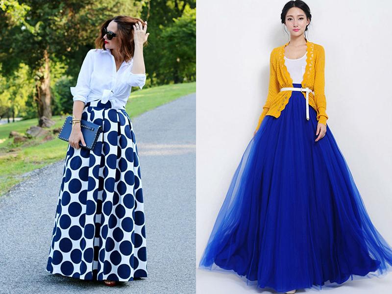Разноцветные юбки в пол