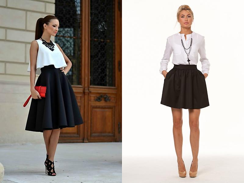 С чем носить юбку колокольчик с цветами