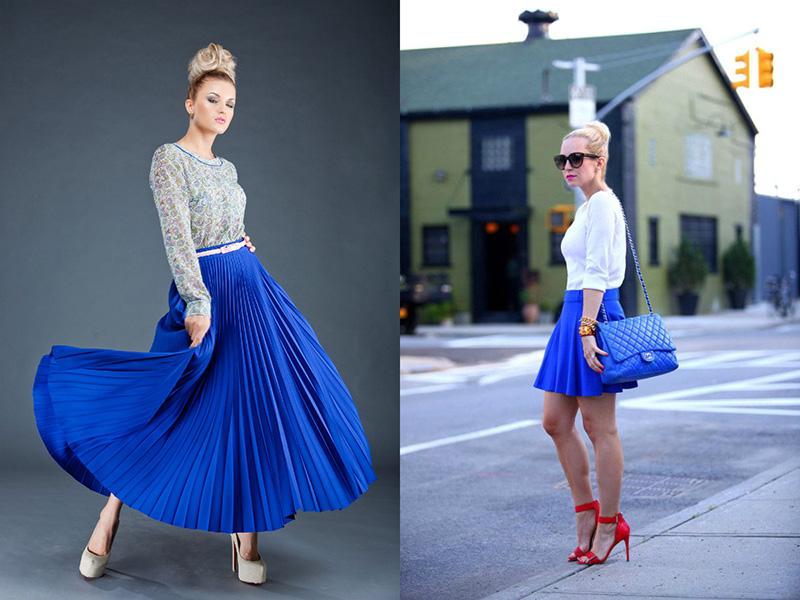 Голубая юбка и красные туфли