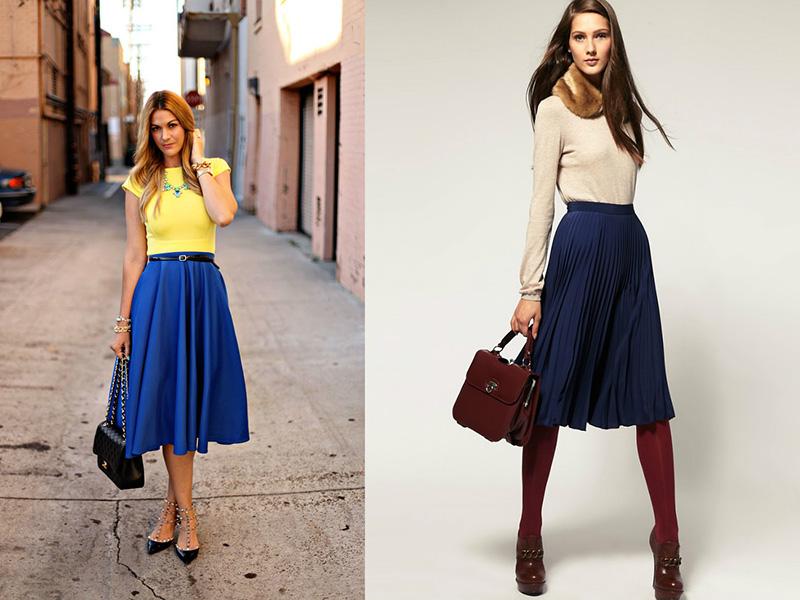 Темно синяя юбка ниже колен