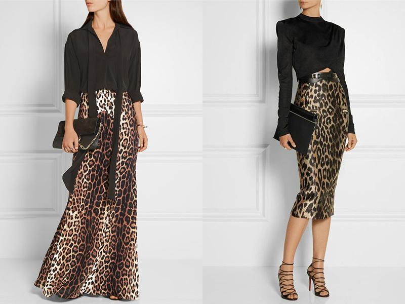 Леопардовое юбка в пол