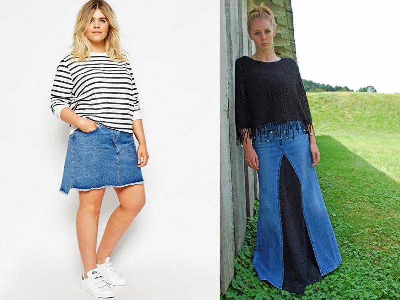 Фасон юбки из джинс