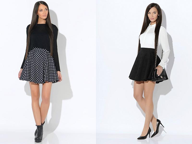 Черная короткая юбка на девушках фото