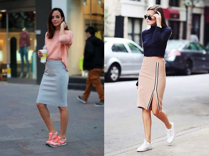 Кроссовки с длинными джинсовыми юбками
