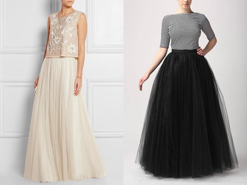 Длинная юбка в пол из сетки