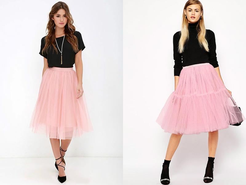 Розовая юбка и обувь к ней