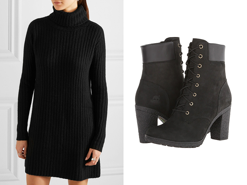 Тимберленды на каблуке составят отличные ансамбли, как с прямыми, так и с  А-образными платьями. Если выбрана модель обуви на шпильке, то ее можно  надеть ... d96a8511feb