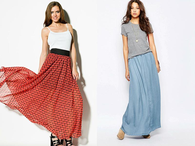 Как носить длинную юбку на резинке