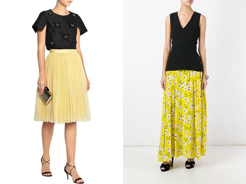 Плиссированная юбка желтая