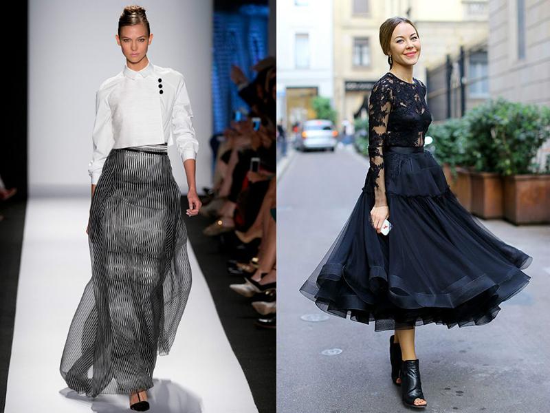 Черная шифоновая юбка до колена