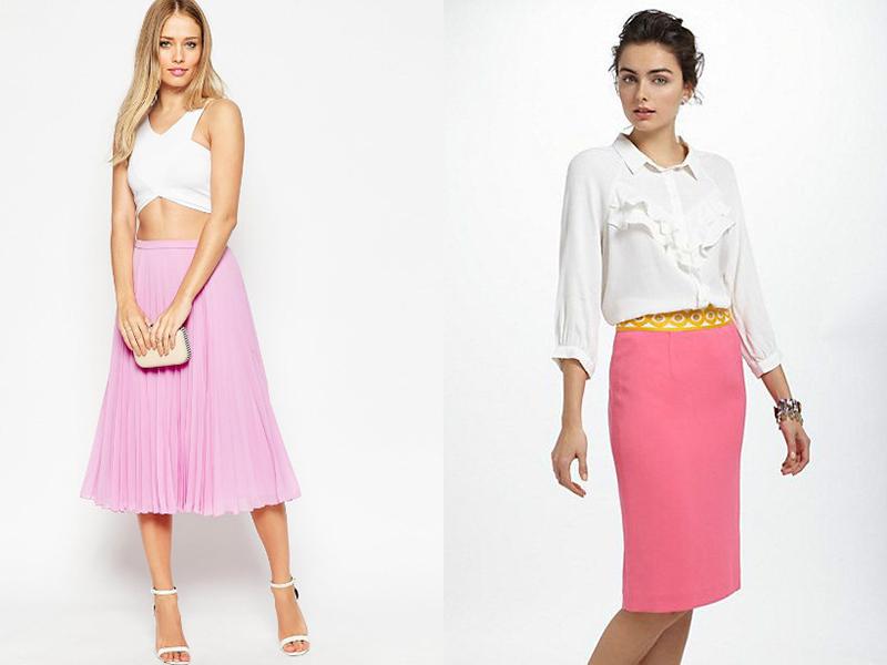 Юбка под блузку розовую