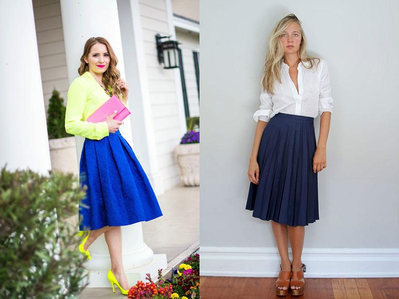 С чем носить расклешенную синюю юбку