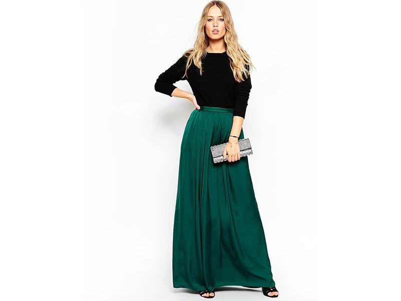 Изумрудная длинная юбка
