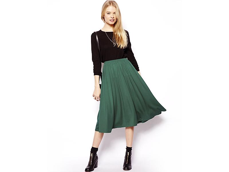 Плиссированная юбка миди зеленая