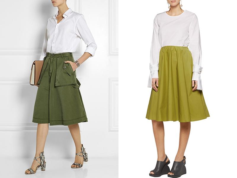 Зеленая юбка расклешенная с чем носить