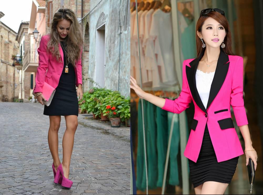 Розовый жакет с платьем
