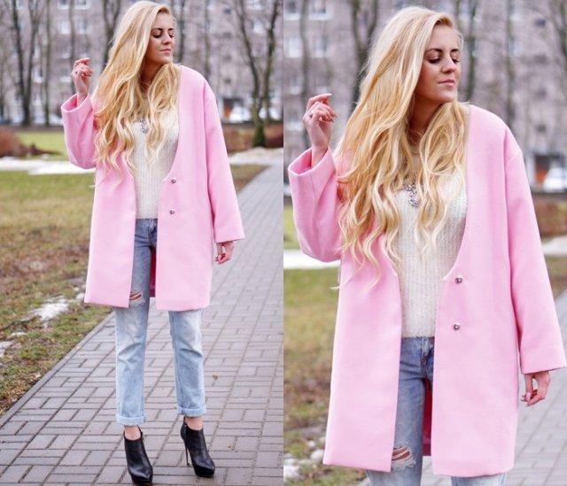 Пальто розового цвета