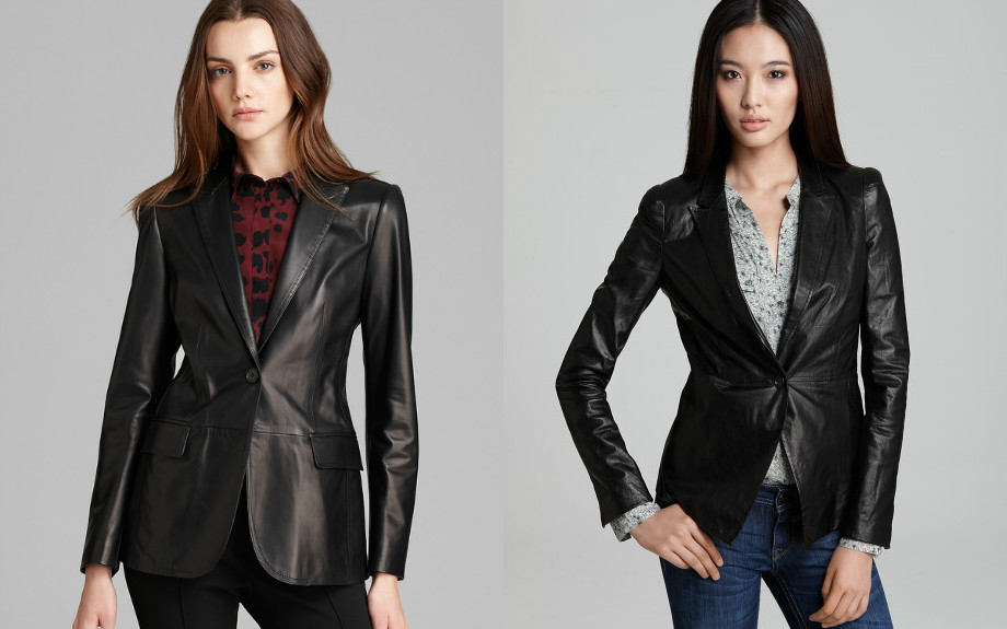 Модный женский кожаный пиджак