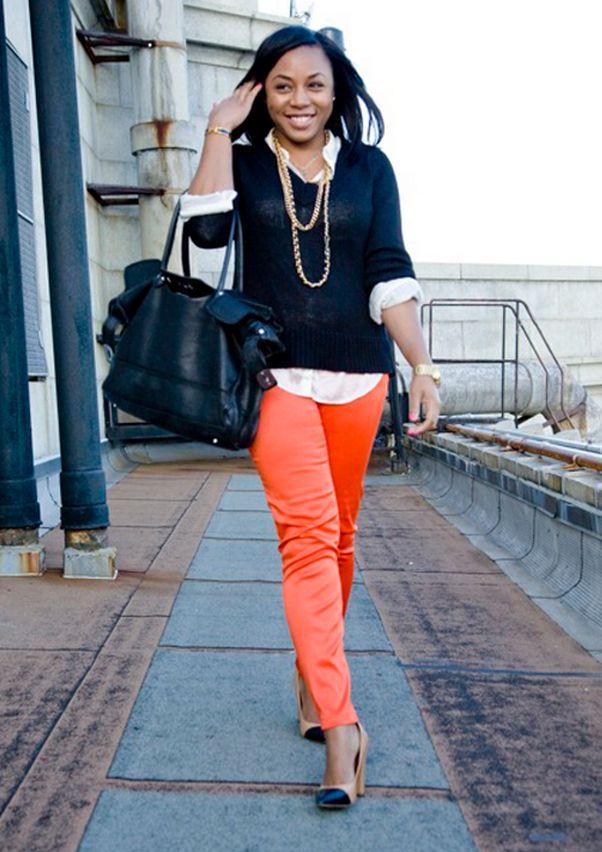 Что одеть под оранжевые брюки