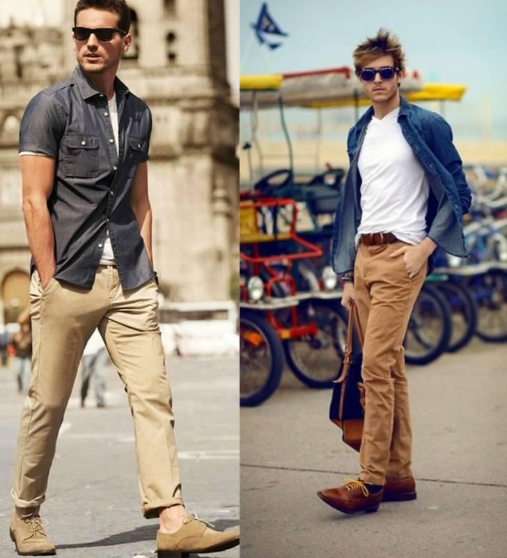 бежевые брюки с чем носить мужчинам фото