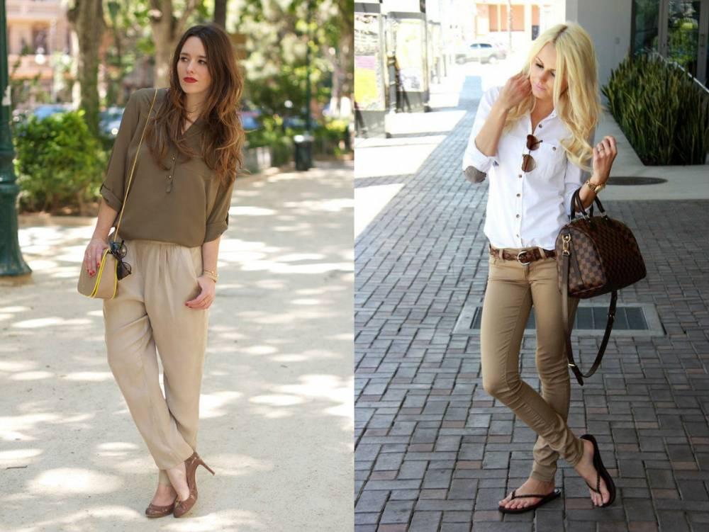 Бежевые джинсы с чем надеть