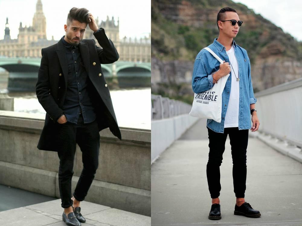 Мужская джинсовая рубашка с чем одеть