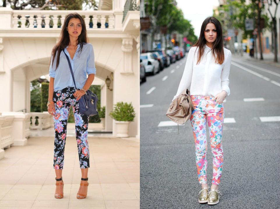 С чем носить брюки в цветочек?